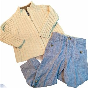 3T Boys 2 Piece Outfit—Zip Sweater & Pants